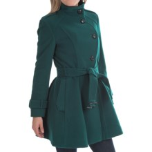 Cole Haan Outerwear Belted Asymmetrical Jacket - Wool Blend (For Women) in Dark Teal - Closeouts