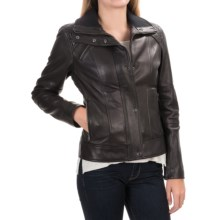 Cole Haan Outerwear Bomber Jacket - Leather (For Women) in Black - Closeouts