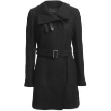 Cole Haan Outerwear Cocoon Coat - Soft Italian Wool (For Women) in Black - Closeouts