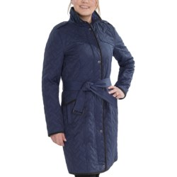Cole Haan Outerwear Cotton Blend Quilt Coat - Zip Front (For Women) in Cobalt
