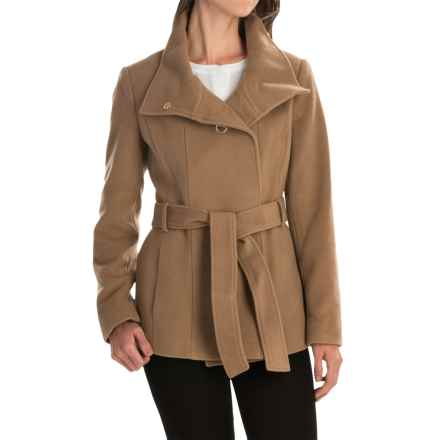 Cole Haan Outerwear Double-Breasted Wool Coat - Belted (For Women) in Camel - Closeouts