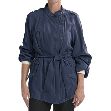 Cole Haan Outerwear Drapey Rain Trench Coat (For Women) in Navy