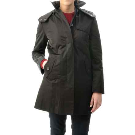 Cole Haan Outerwear Gabardine Rain Coat - Removable Hood, Quilted Liner (For Women) in Black - Closeouts