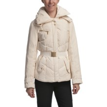 Cole Haan Outerwear Hooded Down Coat - Gold Accents (For Women) in Ivory - Closeouts