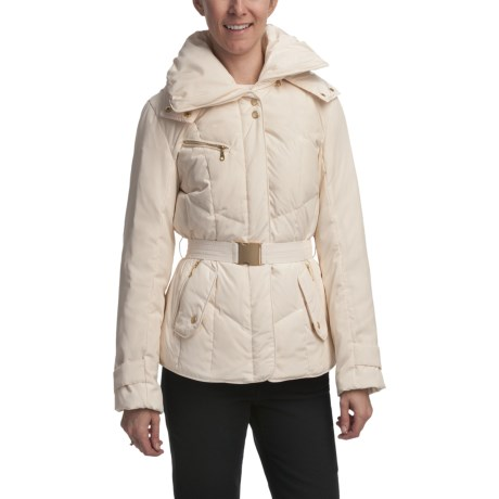 Cole Haan Outerwear Hooded Down Coat - Gold Accents (For Women) in Ivory