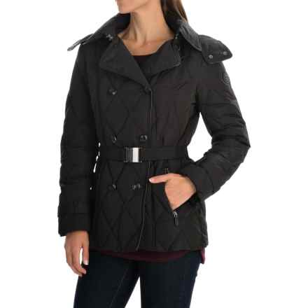 Cole Haan Outerwear Quilted Down Peacoat (For Women) in Black - Closeouts