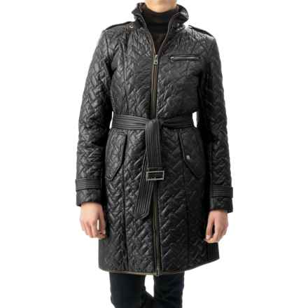 Cole Haan Outerwear Quilted Leather-Trim Coat - Removable Liner (For Women) in Black - Closeouts
