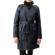 Cole Haan Outerwear Quilted Leather-Trim Coat - Removable Liner (For Women) in Navy - Closeouts
