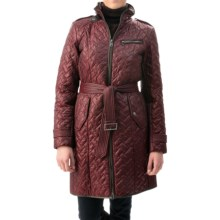 Cole Haan Outerwear Quilted Leather-Trim Coat - Removable Liner (For Women) in Zinfindel - Closeouts