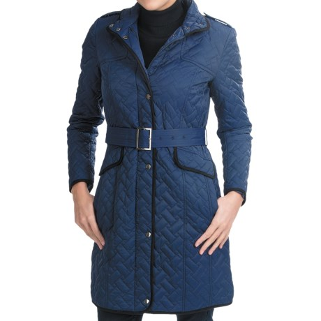 Cole Haan Outerwear Quilted Stars Jacket - Leather Trim (For Women) in Cobalt