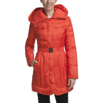 Cole Haan Outerwear Sheen Down Coat (For Women) in Red Orange