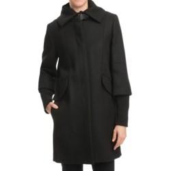 Cole Haan Outerwear Twill Coat - Soft Italian Wool, Merino Cuffs (For Women) in Black