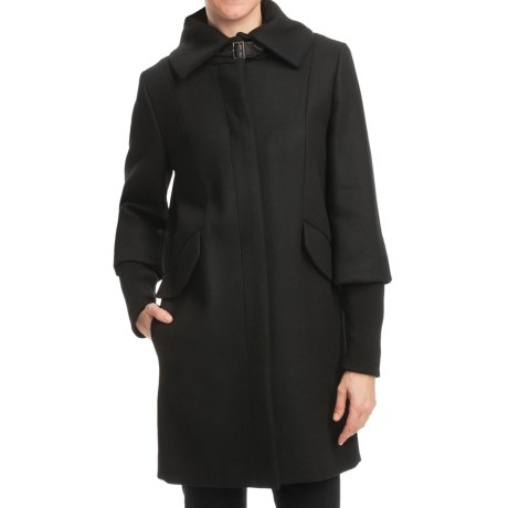 Cole Haan Outerwear Twill Coat - Soft Italian Wool, Merino Cuffs (For Women) in Black