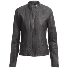 Cole Haan Outerwear Washed Lamb Moto Jacket (For Women) in Black - Closeouts