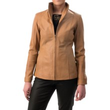 Cole Haan Outerwear Wing Collar Leather Jacket (For Women) in Amber - Closeouts
