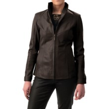 Cole Haan Outerwear Wing Collar Leather Jacket (For Women) in Java - Closeouts
