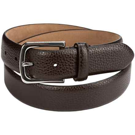 Cole Haan Pebbled Leather Belt (For Men) in Chocolate - Closeouts