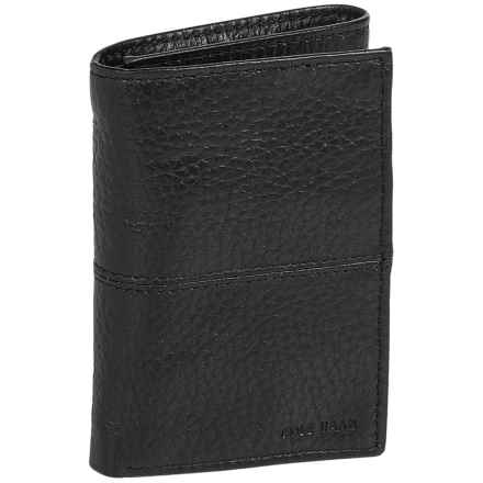Cole Haan Pebbled Leather Trifold Wallet (For Men) in Black - Closeouts