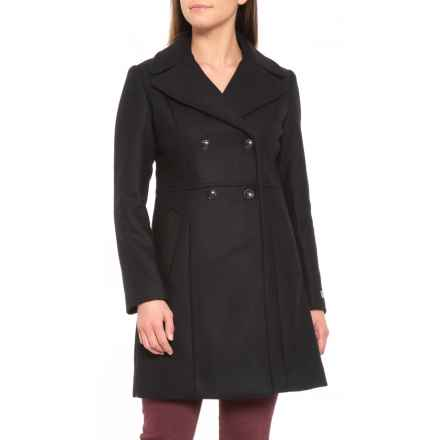 Cole Haan Pressed Italian Wool Double-Breasted Coat (For Women) in Black - Closeouts