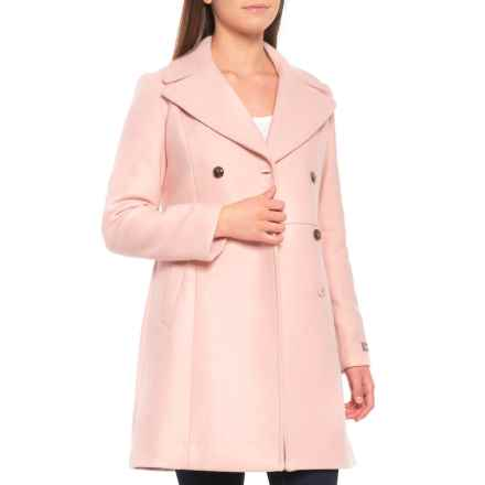 Cole Haan Pressed Italian Wool Double-Breasted Coat (For Women) in Canyon Rose - Closeouts