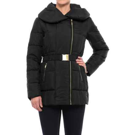 Cole Haan Quilted Down Coat - Shawl Collar (For Women) in Black - Closeouts
