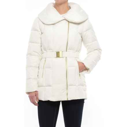Cole Haan Quilted Down Coat - Shawl Collar (For Women) in Bone - Closeouts