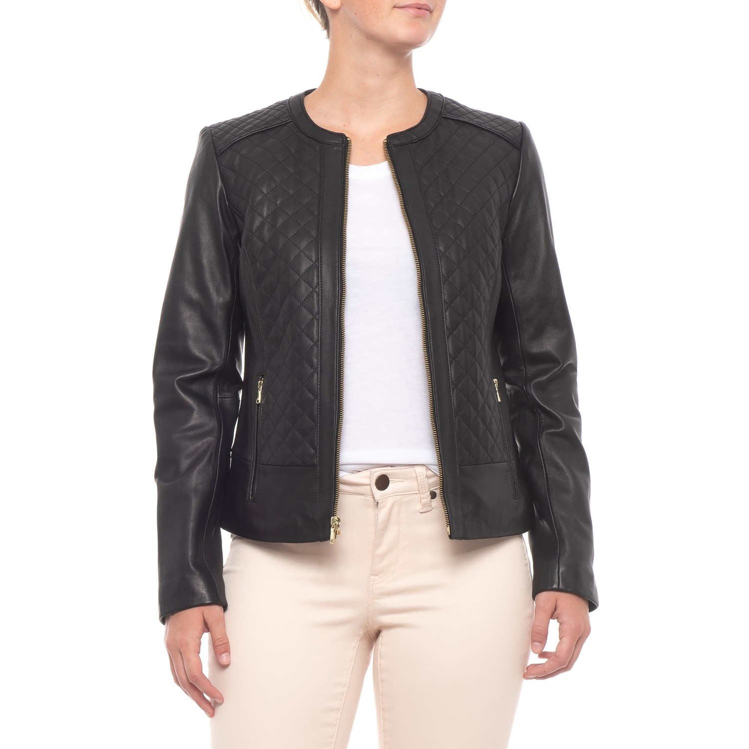 Cole Haan Quilted Leather Jacket For Women Save 50
