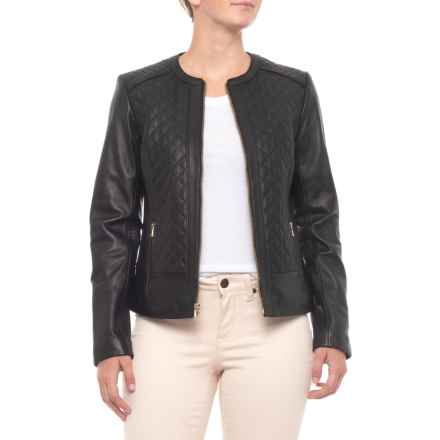 Cole Haan Quilted Leather Jacket - Insulated (For Women) in Black - Closeouts