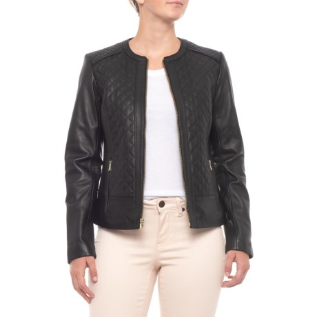 Cole Haan Quilted Leather Jacket For Women Save 72