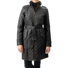 Cole Haan Quilted Leather-Trim Coat - Removable Liner (For Women) in Black - Closeouts