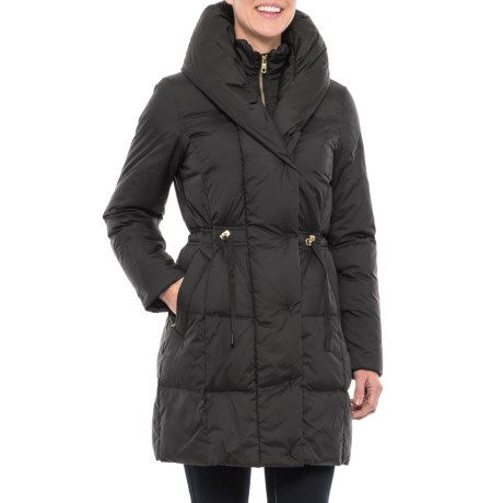 Cole Haan Quilted Long Down Coat - Shawl Collar (For Women) in Black