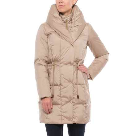 Cole Haan Quilted Long Down Coat - Shawl Collar (For Women) in Sand - Closeouts