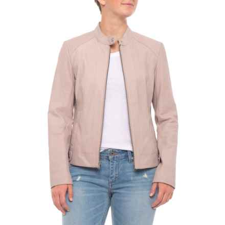 Cole Haan Quilted Shoulder Jacket - Goat Leather (For Women) in Clay - Closeouts