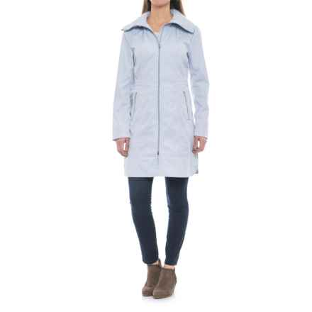 Cole Haan Single-Breasted Packable Rain Jacket (For Women) in Mist Blue - Closeouts