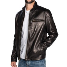 Cole Haan Smooth Lambskin Moto Jacket (For Men) in Black - Closeouts