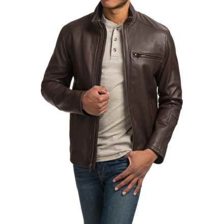 Cole Haan Smooth Lambskin Moto Jacket (For Men) in Java - Closeouts