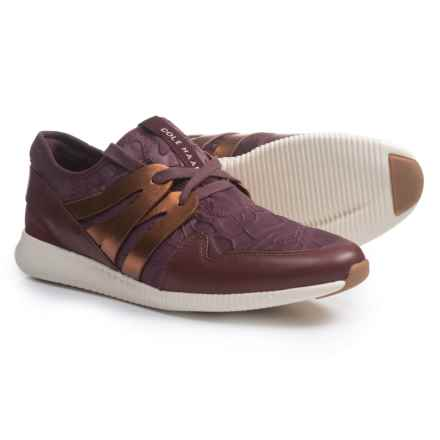 Cole Haan Studiogrand Embossed Floral Sneakers - Leather (For Women) in Deep Berry Floral Embossed - Closeouts