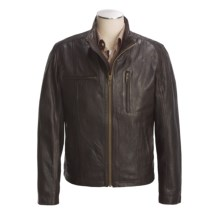 Cole Haan Vintage Lamb Leather Moto Jacket (For Men) in Licorice - Closeouts