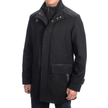 Cole Haan Wool-Blend Twill Coat - Zip-Out Bib (For Men) in Black - Closeouts