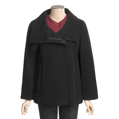 Cole Haan Wool-Cashmere Coat - Bell Sleeve (For Women) in Black