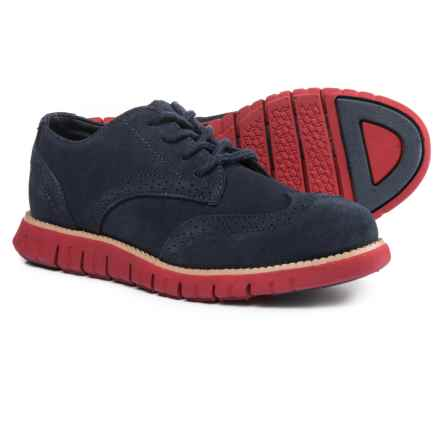 Cole Hann Zerogrand Oxford Shoes - Suede (For Boys) in Navy/Red - Closeouts