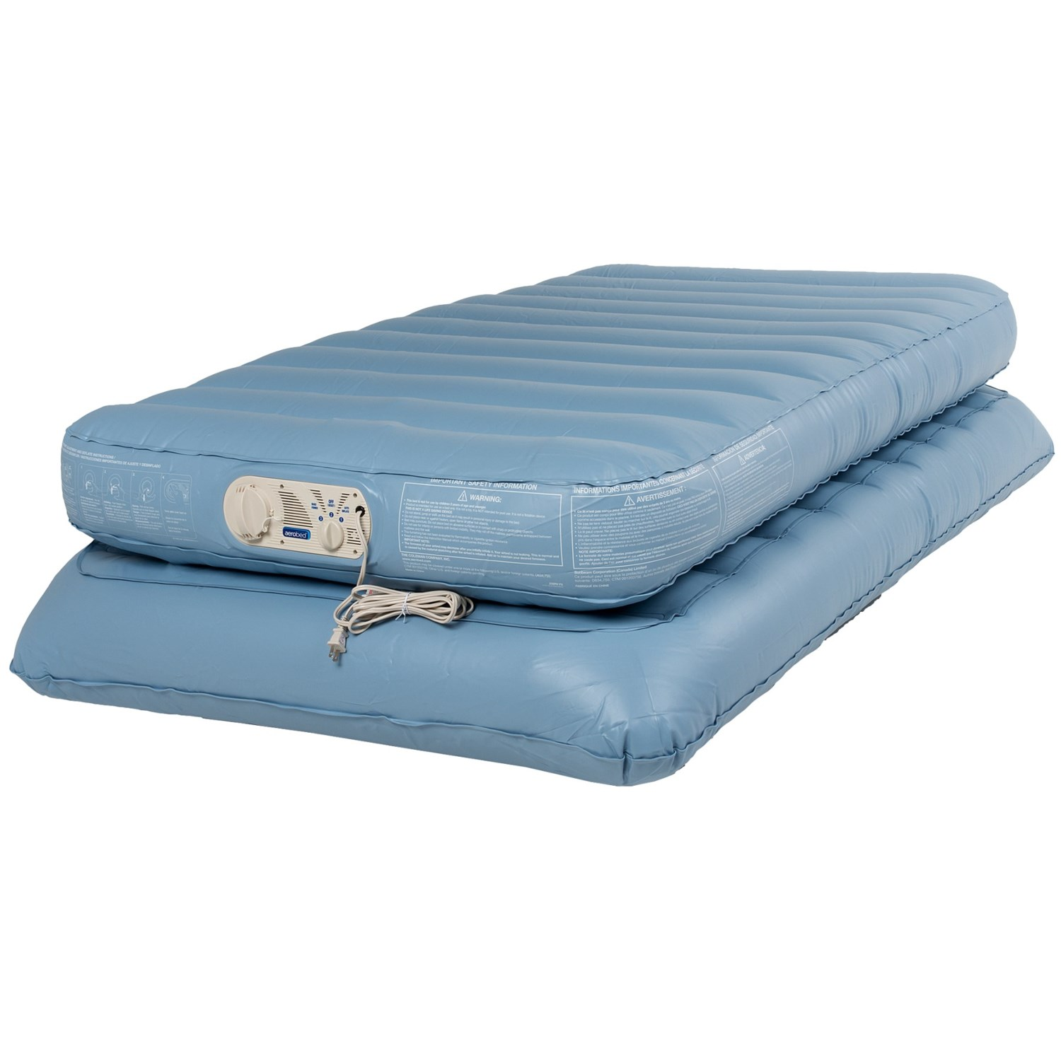Coleman Aerobed Twin Air Mattress Double Height 120v Pump Save 68