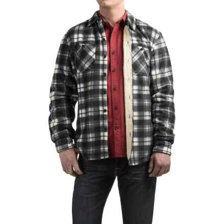 Coleman Fleece Shirt Jacket - Sherpa Lined (For Men) in Black/White Plaid - Closeouts