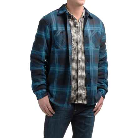 Coleman Fleece Shirt Jacket - Sherpa Lined (For Men) in Navy Plaid - Closeouts