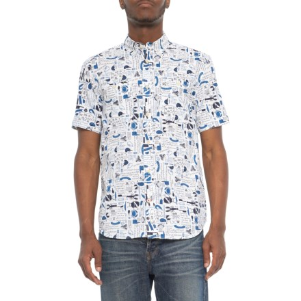 d4586acf Coleman Printed Guide Shirt - Short Sleeve (For Men) in White/Blue -