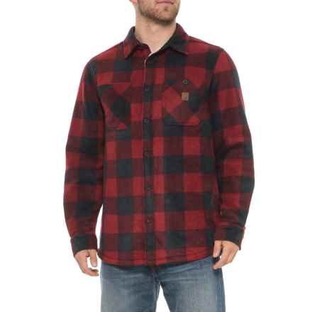 Coleman Printed Polar Fleece Shirt Jacket - Sherpa Lined (For Men) in Red/Black Printed - Overstock