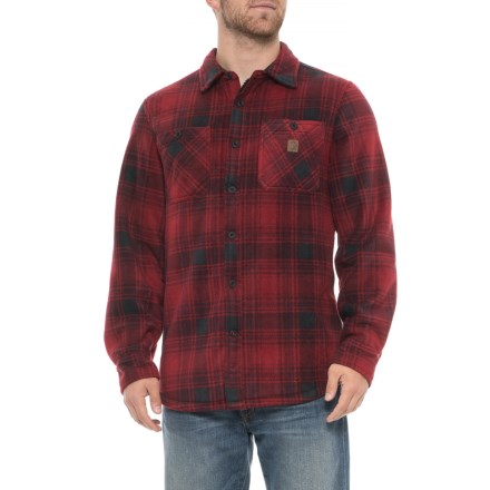 85b77ccd1f Coleman Printed Polar Fleece Shirt Jacket - Sherpa Lined (For Men) in Red/