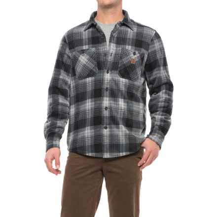 Coleman Printed Sherpa Bonded-Fleece Shirt Jacket (For Men) in Grey Plaid - Closeouts