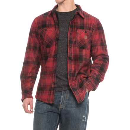 Coleman Printed Sherpa Bonded-Fleece Shirt Jacket (For Men) in Red Black Plaid - Closeouts