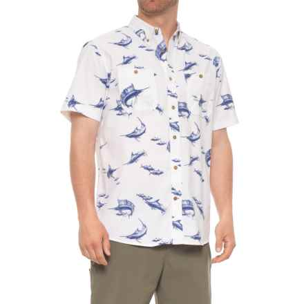Coleman Printed Stretch-Woven Guide Shirt - UPF 30, Short Sleeve (For Men) in Marlin Print - Closeouts